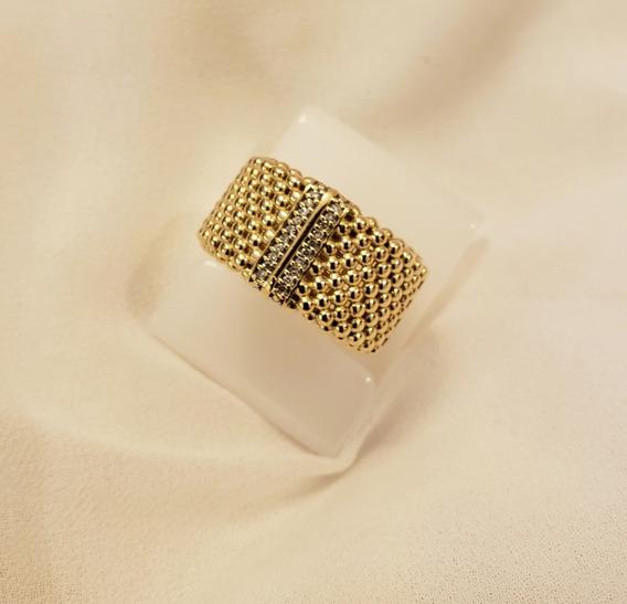Fabuloso Anel Em Ouro Amarelo E Diamantes