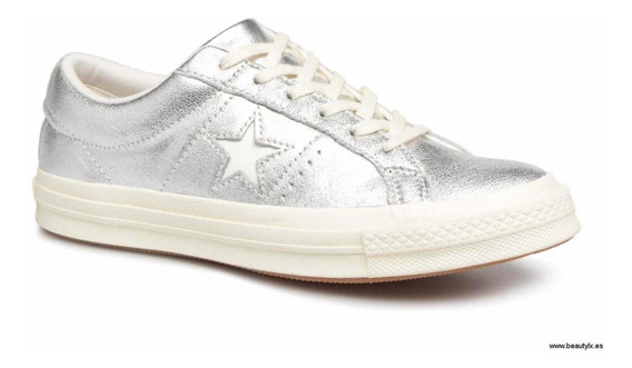 Zapatillas Converse De Dama One Star Color Plateadas