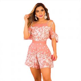 Macaquinho Curto Feminino Moda Blogueira 2019 Estampado Rosa