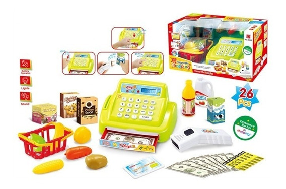Caixa Registradora Infantil Com Mini Mercado Dinheiro Leitor