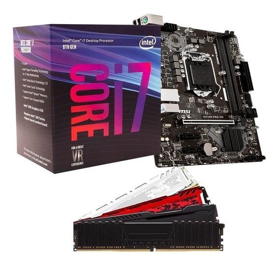 Kit 8º Geração Intel Core I7 8700 + H310m + 8gb Ddr4 2400mhz