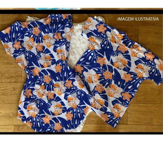 Kit Casal Vestido+camiseta Floral Azul/laranja