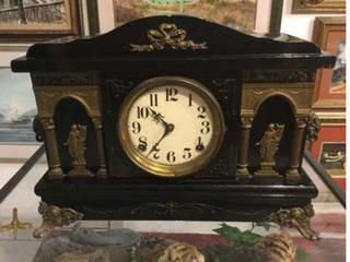 Reloj De Chimenea Cuerda 1890 Madera Fina Impecable