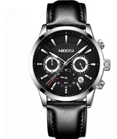 Relógio Masculino Nibosi Original Pulseira Couro