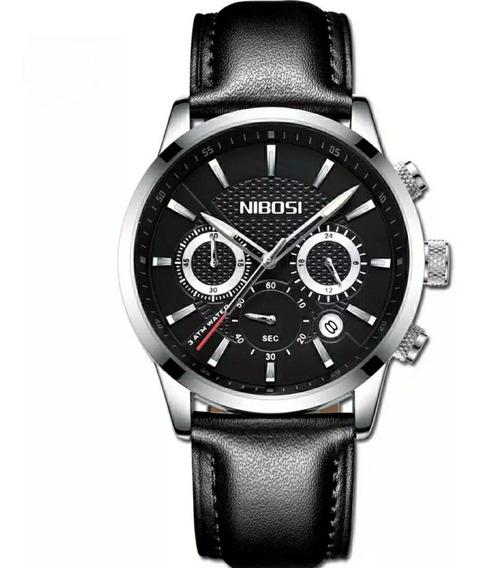 Relógio Masculino Pulseira Couro 100% Funcional Com Caixa