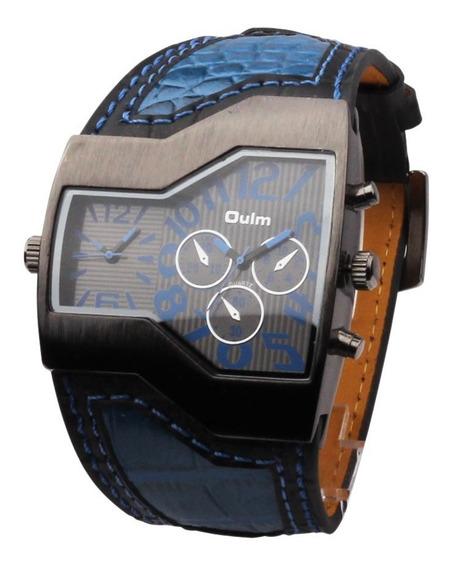 Relógio Masculino Pulso Oulm 1120-2 Mostrador Analógico-azul