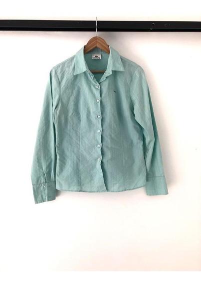 Camisa Lacoste De Mujer - Verde Agua -manga Larga - Talle 44