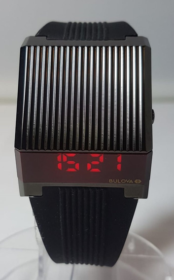 Relogio Bulova Computron Led Stainless Steel Strap Watch Reediçao Anos 70 Na Cor Black Sainless Steel