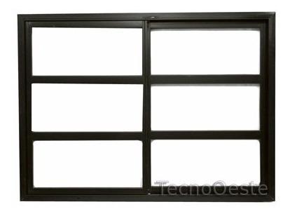 Ventana Aluminio Negro Vidrio Repartido Horizontal 200x110