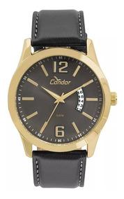 Relógio Condor Masculino Dourado Casual Pulseira Couro - Nf