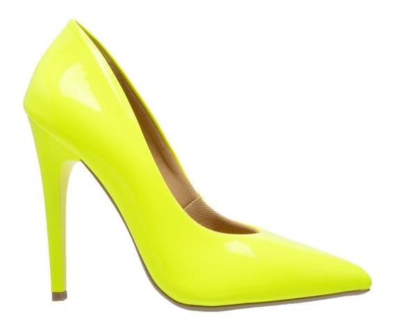 Sapato Feminino Scarpin Salto Alto 11 Cm Neon Fashionista