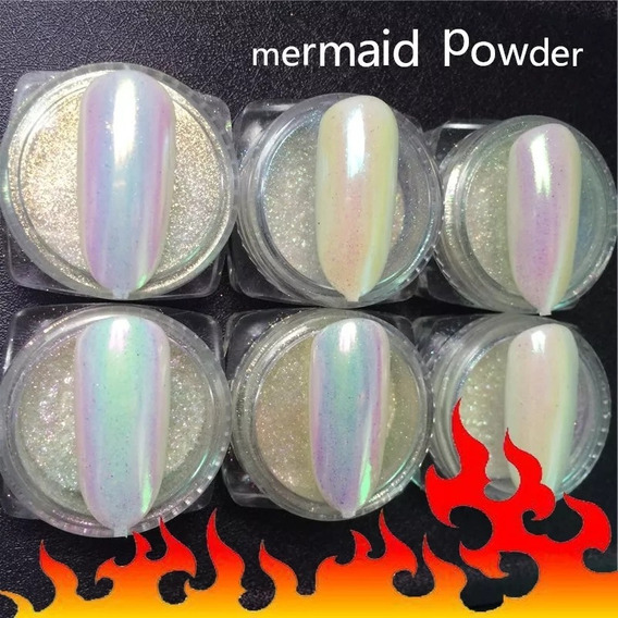 Polvo Aurora 0,2gr Pigmento Sirena Uñas Manicura Arte X6