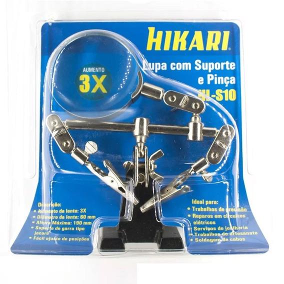 Lupa Com Suporte Garra Pinca Lupa Aumento 3 X Hikari Hl-s10