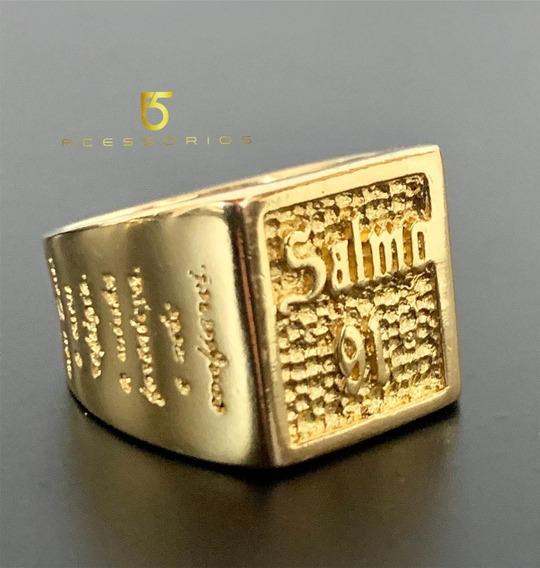 Anel Masculino Banhado A Ouro 18k Com Grossa Camada De Ouro