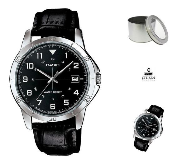 Reloj Casio Mtpv008 Hombre Piel Negro Fechador *watchsalas*