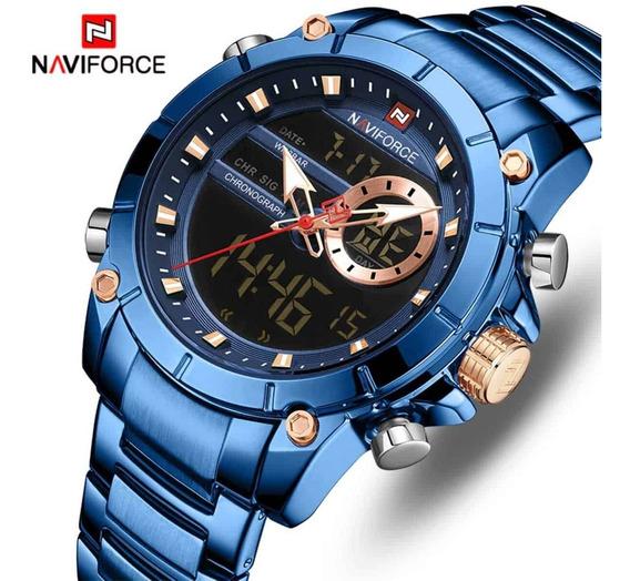 Relógio Para Homem De Aço Azul - Naviforce 9163 - Dois Em Um