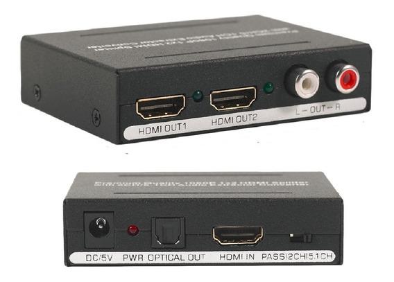 Adaptador Conversor De Áudio Hdmi Splitter 1x2 1080 P/ 3d