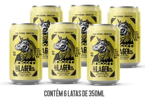 Cerveja Unicorn Light Lager Caixa C/ 6 Latas 350 Ml