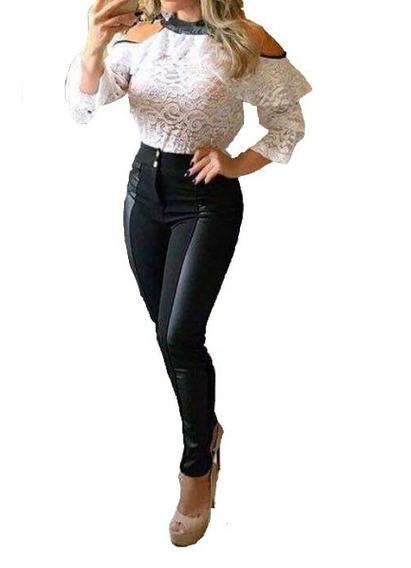 Conjunto Blusa Top Cropped E Calça Colada Flare #cj18 Festa