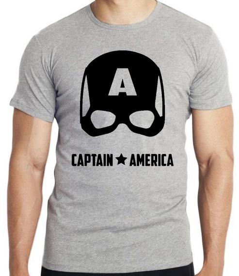 Camiseta Luxo Capitão América Máscara Black Vingadores Marve