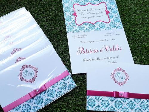 Imagem 1 de 4 de Kit 50 Convites Casamento - Azul Tiffany E Rosa 240g