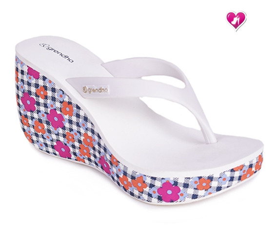 Zueco Ojota Tacona Floreada Grendha Brasil By Shoes Bayres