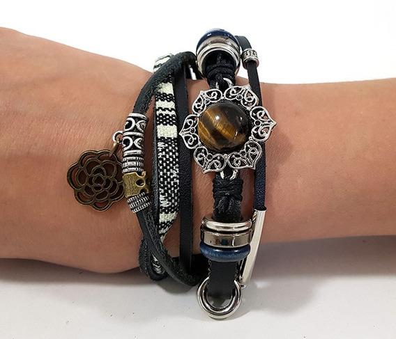 Pulseira Friendship Bracelets Em Couro Broche