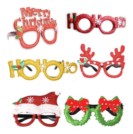 12pz Lentes Navideños Posada Fiesta Navidad Decoración F