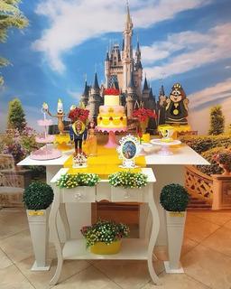 Aluguel Decoração Festa A Bela E Fera Painel Castelo Disney