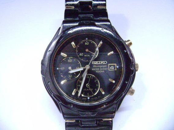 Relógio De Pulso Seiko 7t62-ocjo Alarme E Cronógrafo
