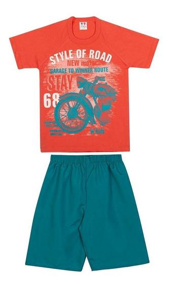 Conjunto Infantil Camisa E Bermuda Masculino Malha Moto