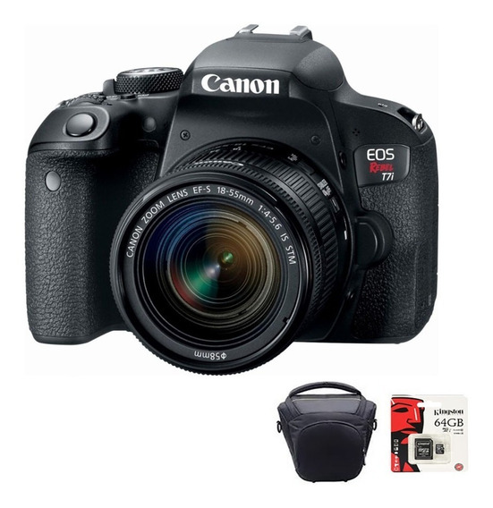 Camara Canon Reflex T7i 24mpx Lente 18-55 + 64gb + Bolso