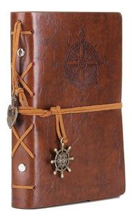 Libreta Vintage De Piel, Cuaderno De Bolsillo