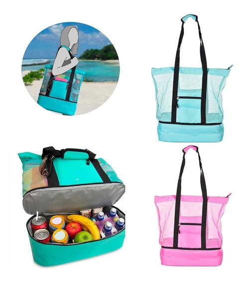 Bolsa Verão Com Compartimento Térmico P/ Praia Piscina Campo