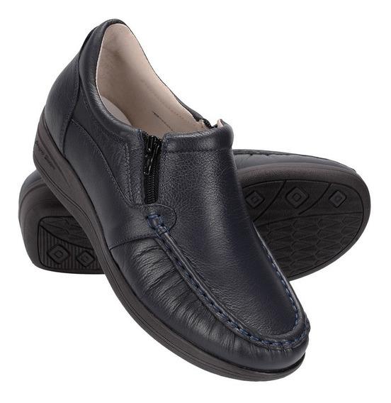 Sapato Feminino Ortopédico Em Couro Legítimo Anti Stress