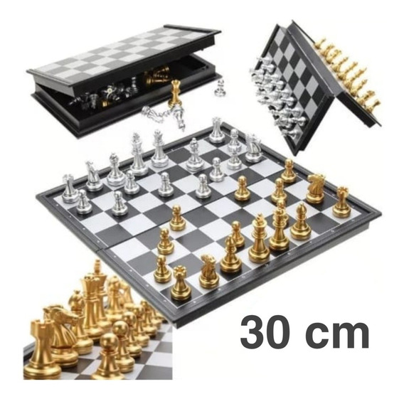 Jogo De Xadrez Magnético Dobrável Prata E Dourado Promoção!