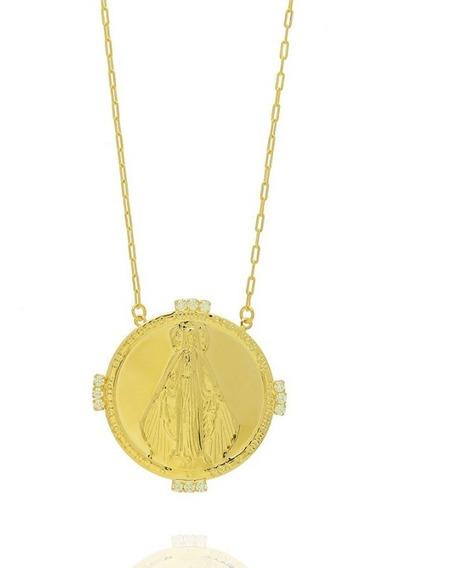 Colar Karola Medalha Grande Semi Joia Folheado Ouro 18k
