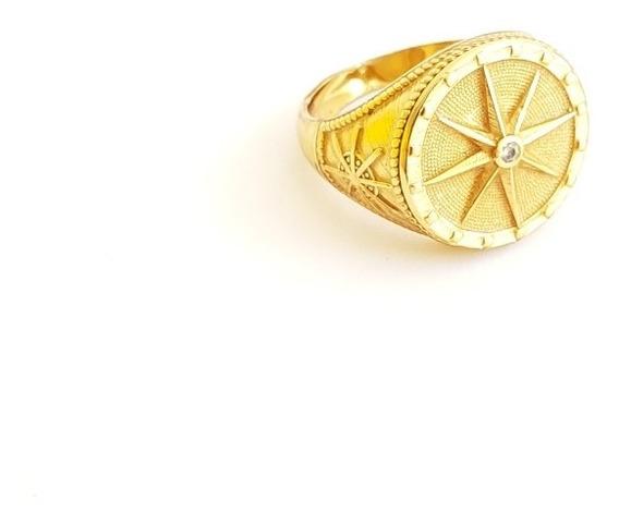 Anel Masculino Rosas Dos Ventos Banhado A Ouro 18k Luxo