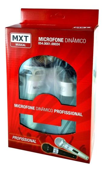 Microfone Duplo De Mão Karaoke Tv Dvd Igreja Cabo 4 Metros