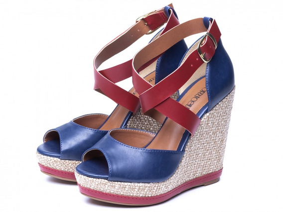 Sandália Anabela Torricella Design Azul Marinho Com Vermelho