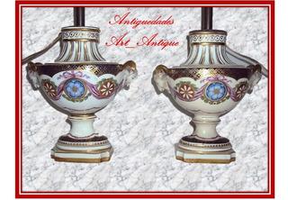 Par De Lámparas De Mesa De Porcelana Sevres (1312)