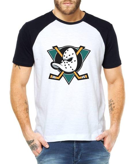 Camiseta Mighty Ducks 100% Algodão Raglan