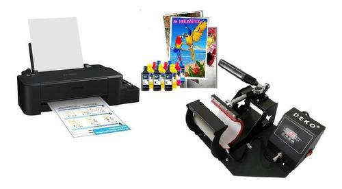 Prensa Caneca + Impressora L120 +12 Tinta 100f - 220v