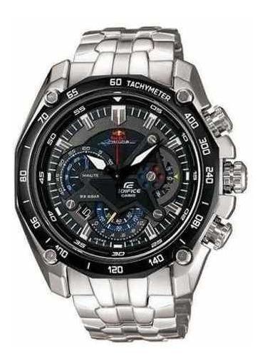 Relógio Casio Edifice Red Bull Ef550 Prata Fundo Preto