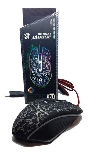 Mouse Gamer A70 C/ Cable Mallado Usb Ajuste De Dpi Con Luz