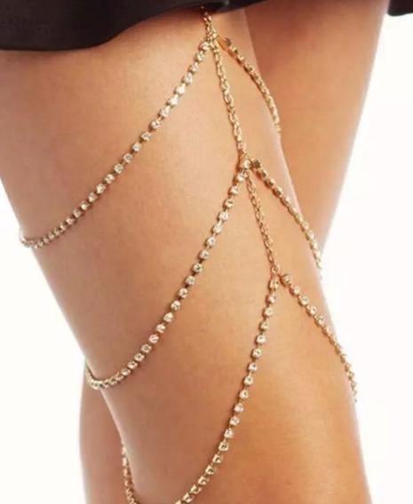 Leg Chain Colar Pulseira Perna Corrente Dourada Strass Sexy