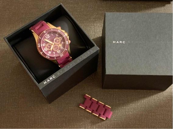 Relógio Marc Jacobs Original - Bordô E Dourado