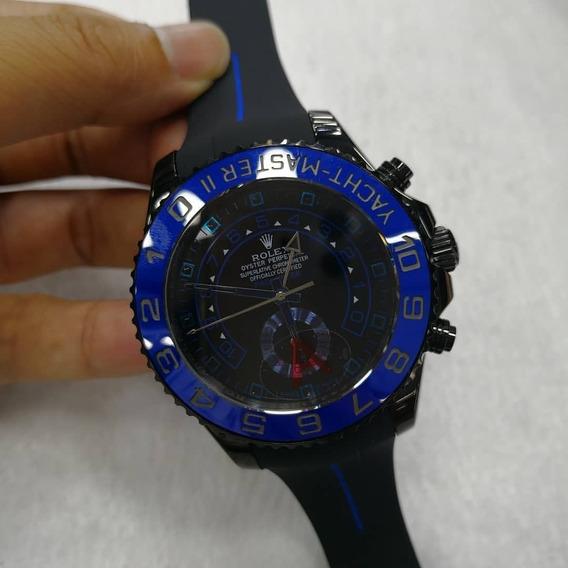 Relógio Masculino Yacht Master Preto Com Azul