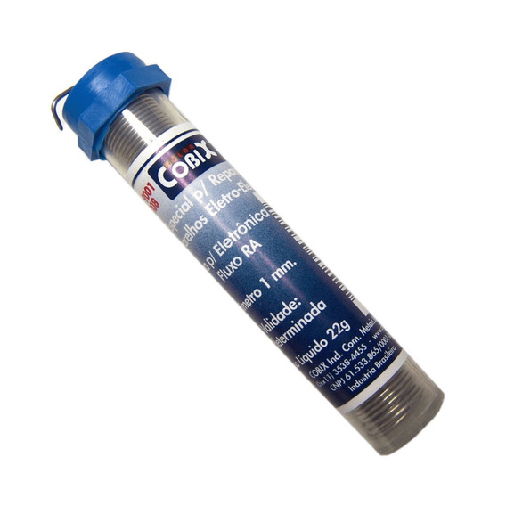 Solda Azul Fio Cheio 60x40 1.0mm Tubinho 4 Unids Cobix 1516