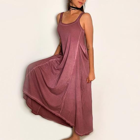 Vestido Longo Básico Estonado Marmorizado
